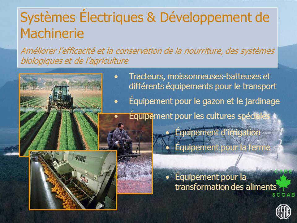 C S B E S C G A B Systèmes Électriques & Développement de Machinerie Améliorer lefficacité et la conservation de la nourriture, des systèmes biologiqu