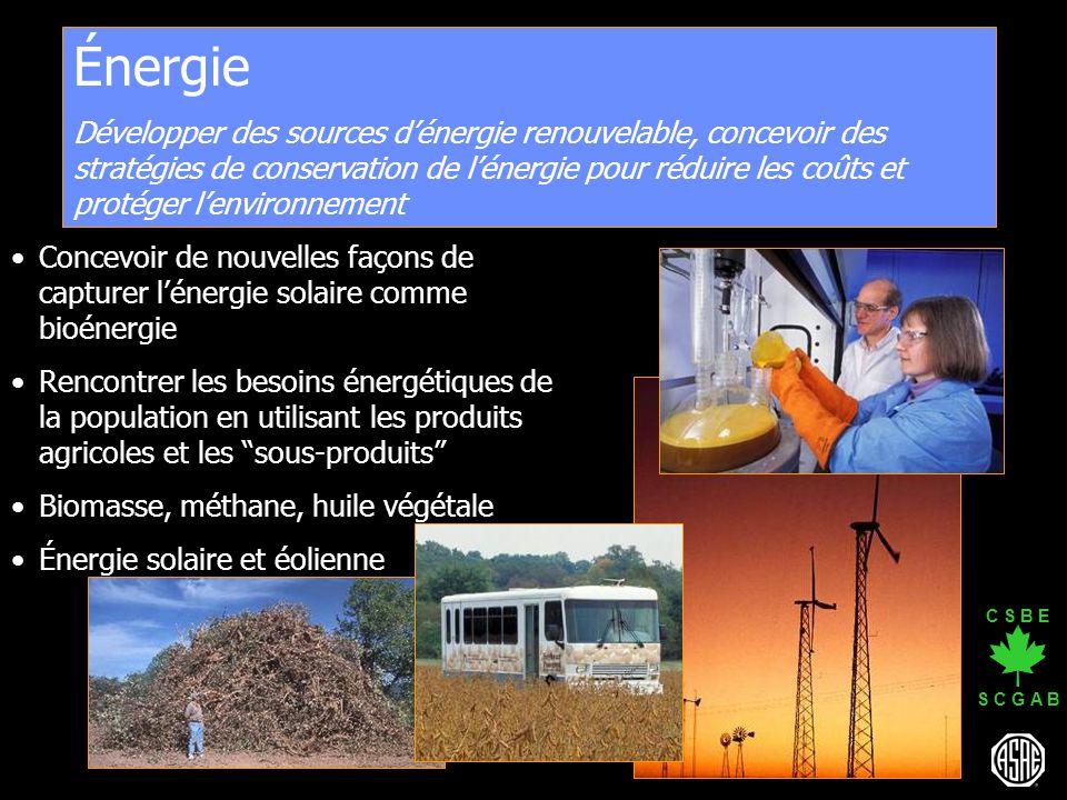 C S B E S C G A B Énergie Développer des sources dénergie renouvelable, concevoir des stratégies de conservation de lénergie pour réduire les coûts et