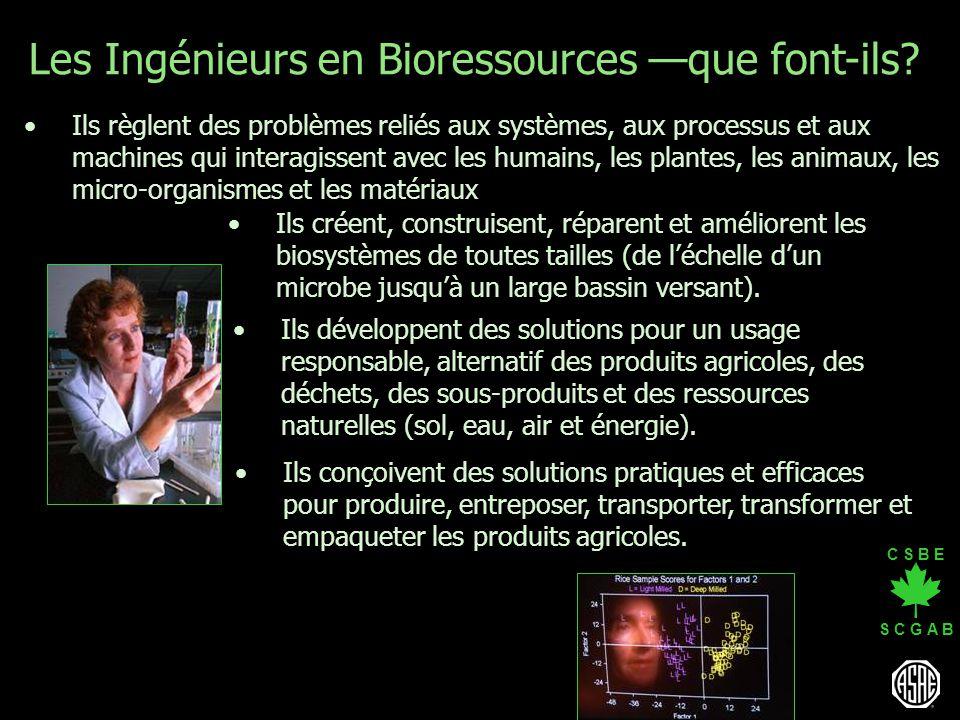C S B E S C G A B Les Ingénieurs en Bioressources que font-ils? Ils développent des solutions pour un usage responsable, alternatif des produits agric