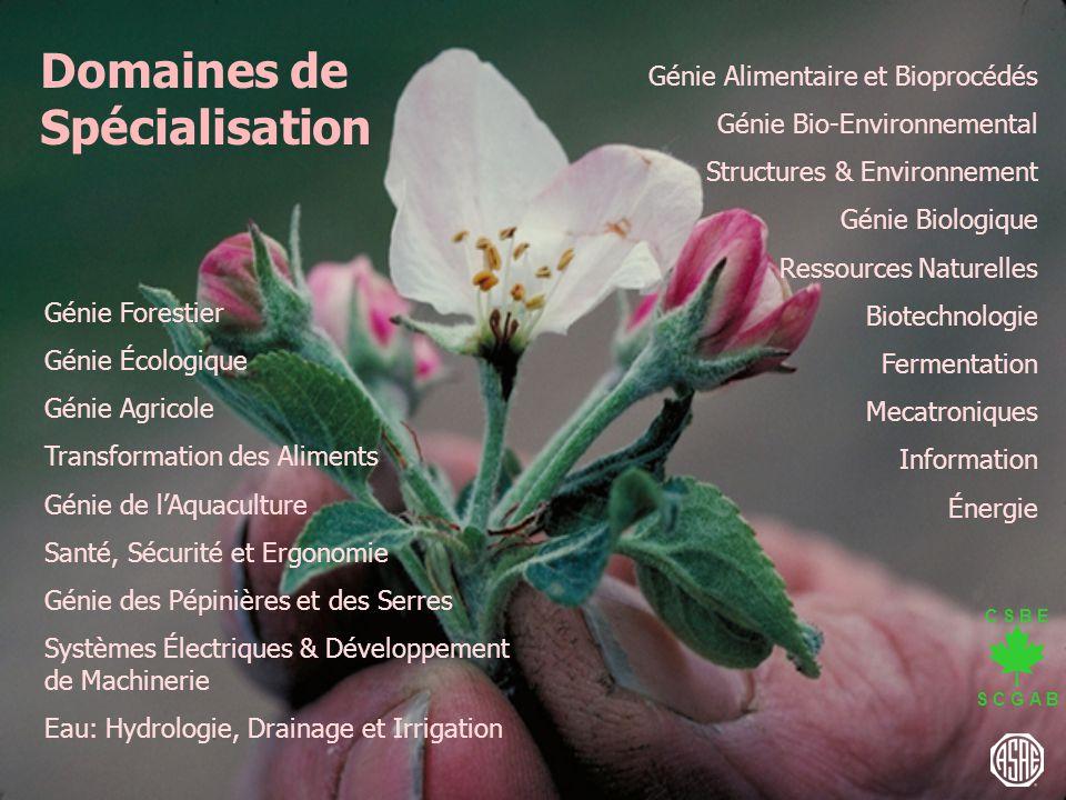 C S B E S C G A B Génie Alimentaire et Bioprocédés Génie Bio-Environnemental Structures & Environnement Génie Biologique Ressources Naturelles Biotech