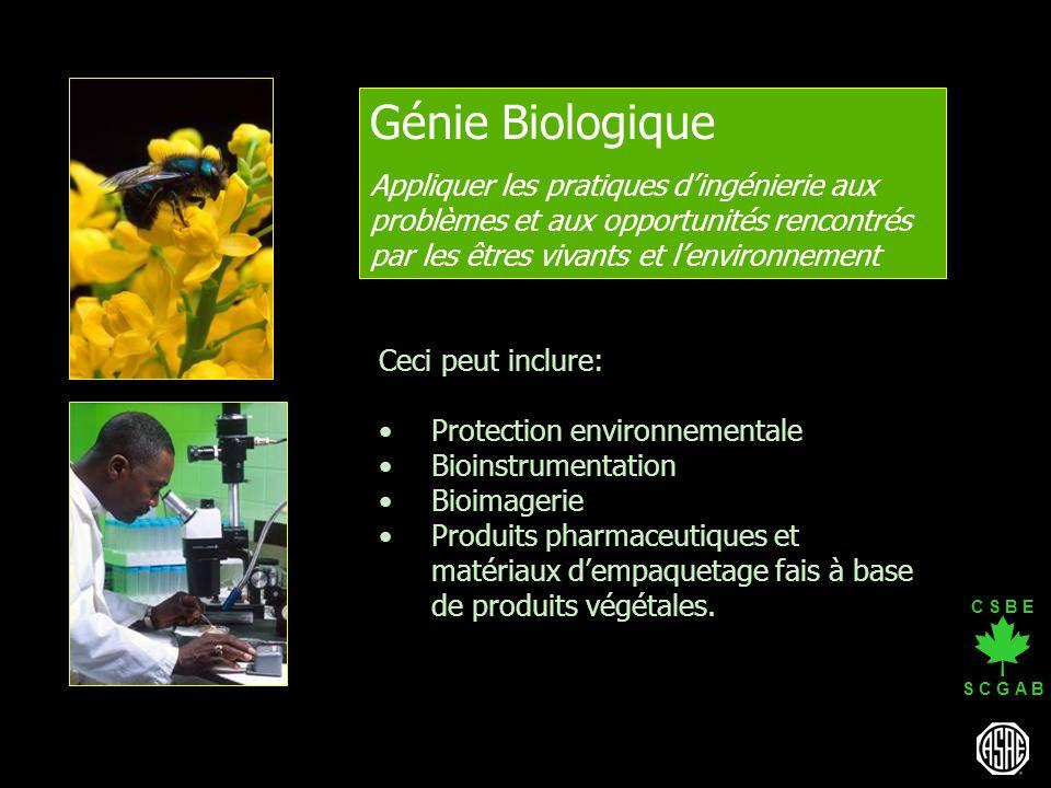 C S B E S C G A B Génie Biologique Appliquer les pratiques dingénierie aux problèmes et aux opportunités rencontrés par les êtres vivants et lenvironn
