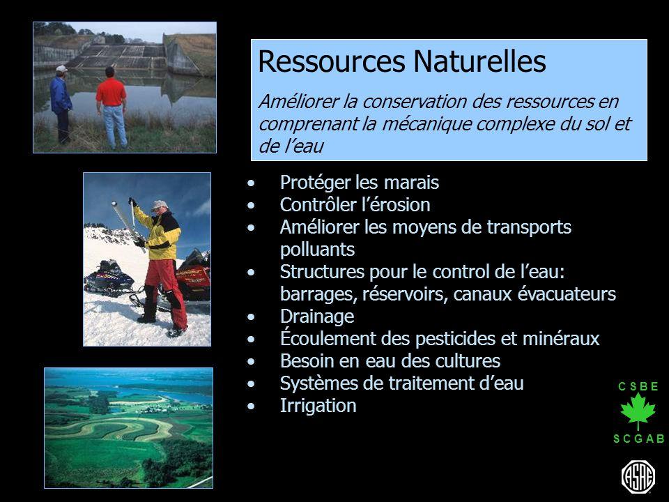 C S B E S C G A B Ressources Naturelles Améliorer la conservation des ressources en comprenant la mécanique complexe du sol et de leau Protéger les ma