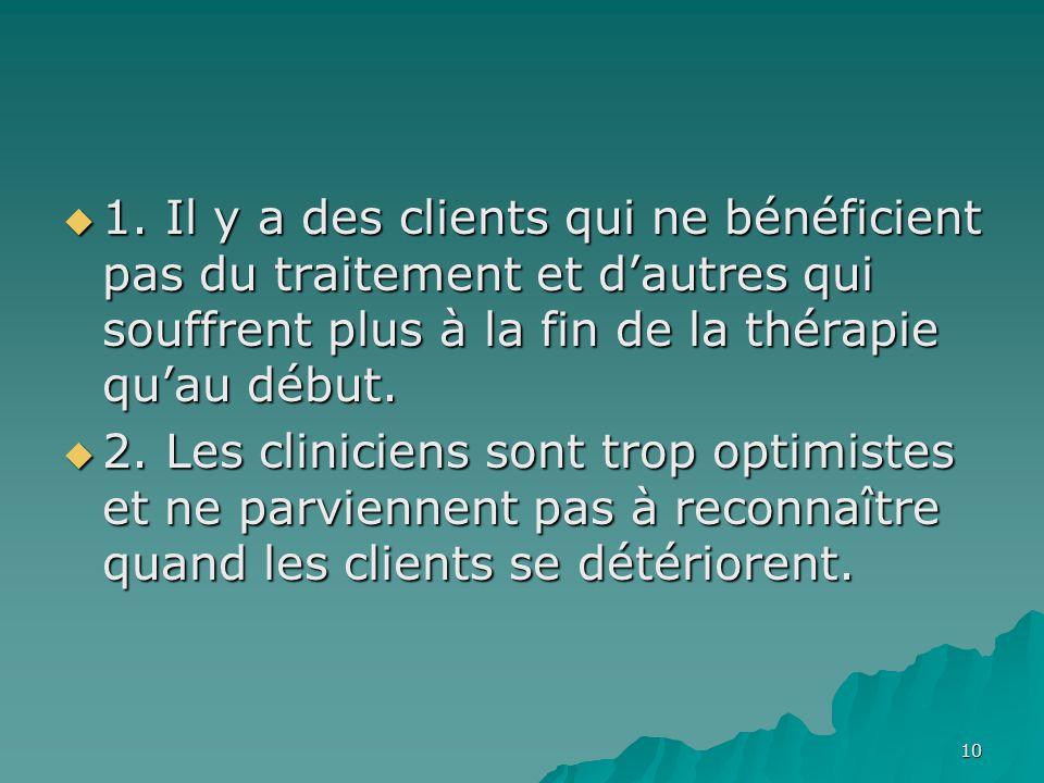 1. Il y a des clients qui ne bénéficient pas du traitement et dautres qui souffrent plus à la fin de la thérapie quau début. 1. Il y a des clients qui