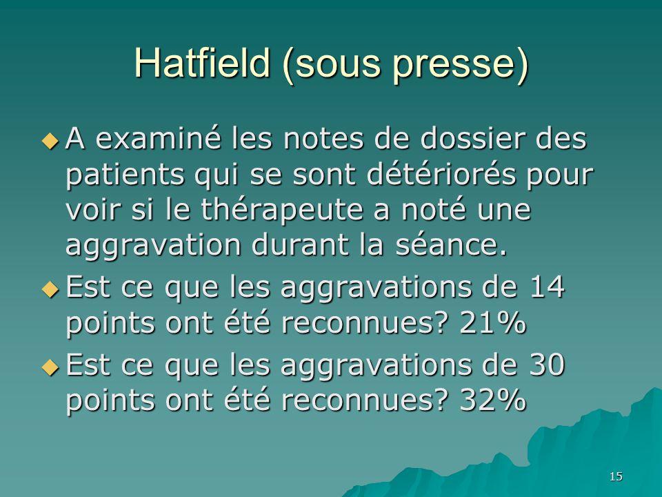 Hatfield (sous presse) A examiné les notes de dossier des patients qui se sont détériorés pour voir si le thérapeute a noté une aggravation durant la séance.