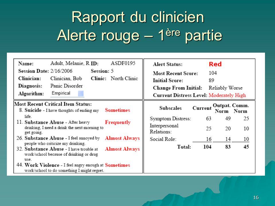 Rapport du clinicien Alerte rouge – 1 ère partie 16