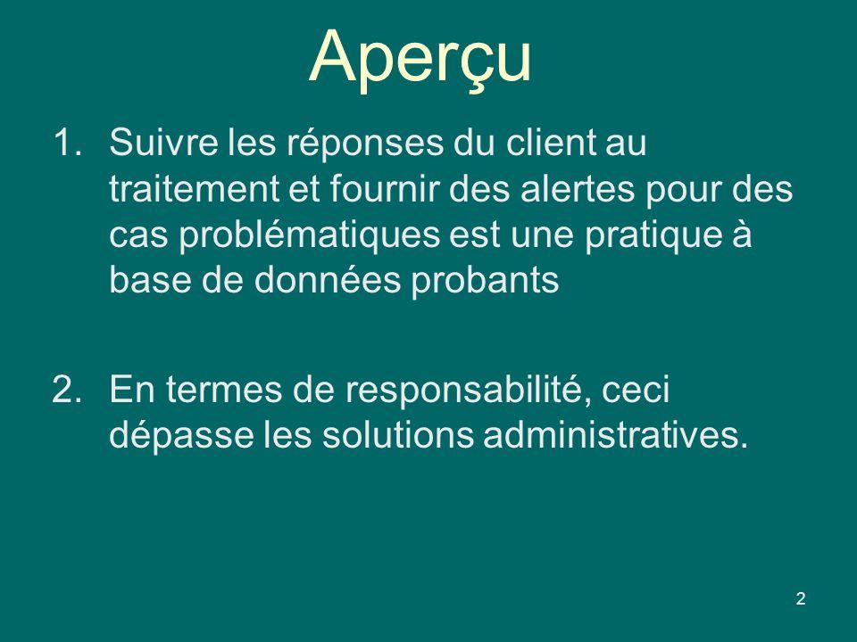 Aperçu 1.Suivre les réponses du client au traitement et fournir des alertes pour des cas problématiques est une pratique à base de données probants 2.En termes de responsabilité, ceci dépasse les solutions administratives.