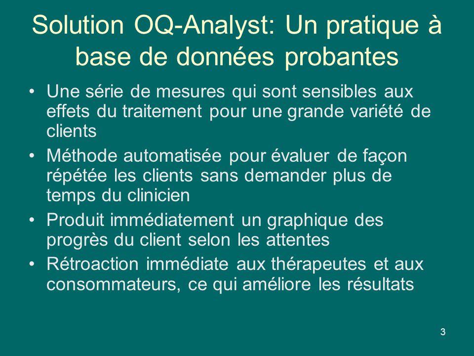 Solution OQ-Analyst: Un pratique à base de données probantes Une série de mesures qui sont sensibles aux effets du traitement pour une grande variété