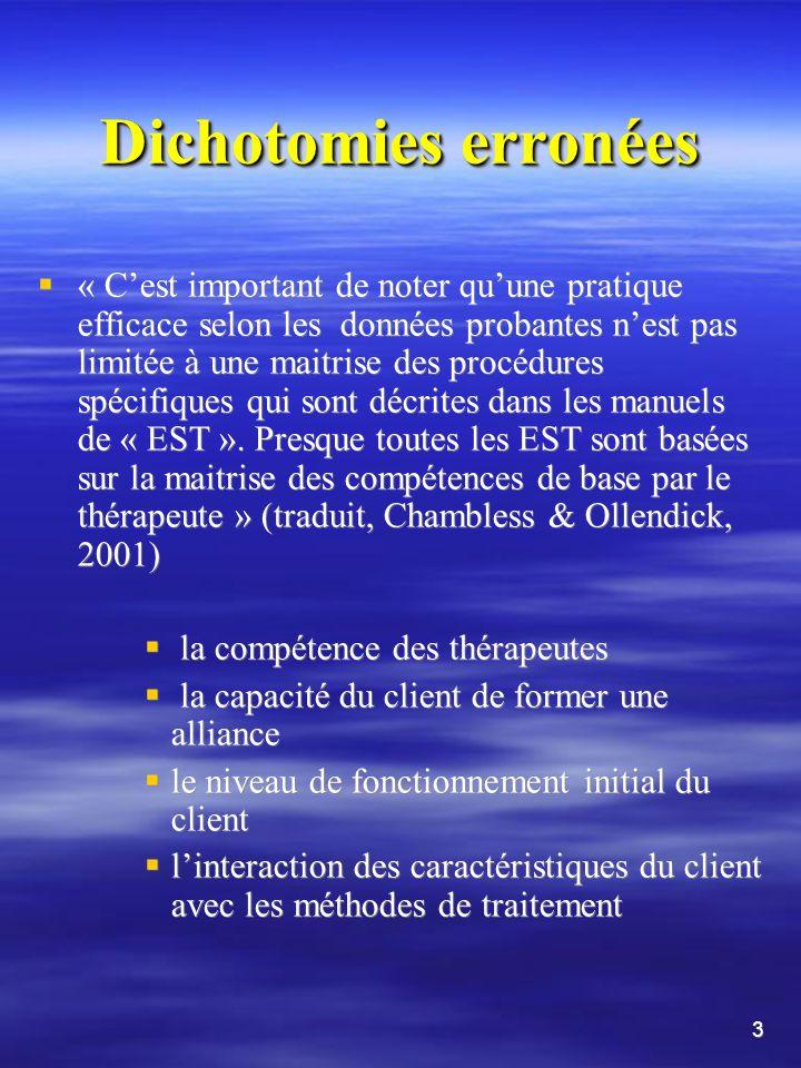 33 PI>TCC en ce qui concerne les processus Blagys & Hilsenroth (2000) Miser sur les émotions et lexpression de celles-ci Exploration de l évitement Identification des tendances (daction, de pensées, de sentiments, et de relations) Mettre laccent sur les expériences dans le passé Miser sur lexpérience interpersonnelle Laccent est sur lexpérience thérapeutique Exploration des désirs, des rêves, ou des fantasmes