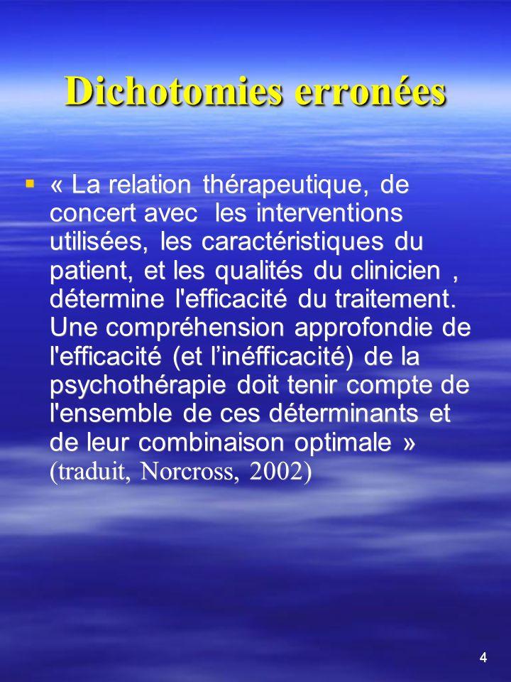 Dichotomies erronées « La relation thérapeutique, de concert avec les interventions utilisées, les caractéristiques du patient, et les qualités du clinicien, détermine l efficacité du traitement.