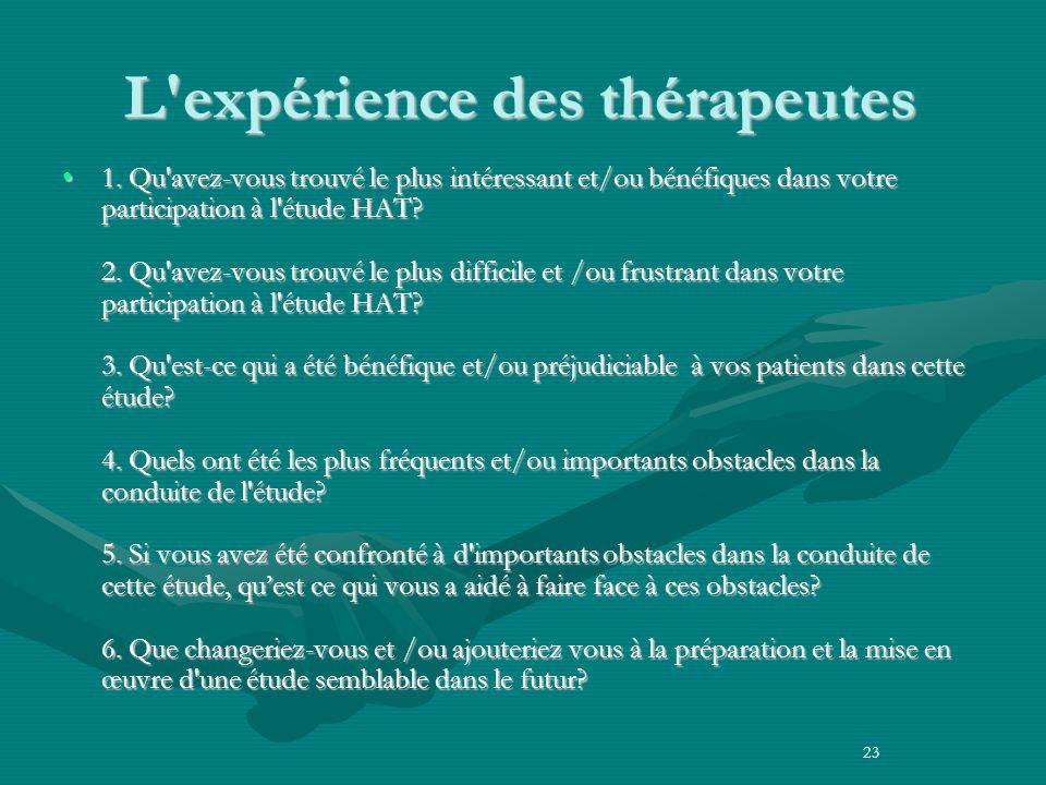 L expérience des thérapeutes 1.
