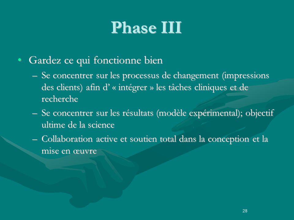 Phase III Gardez ce qui fonctionne bienGardez ce qui fonctionne bien –Se concentrer sur les processus de changement (impressions des clients) afin d « intégrer » les tâches cliniques et de recherche –Se concentrer sur les résultats (modèle expérimental); objectif ultime de la science –Collaboration active et soutien total dans la conception et la mise en œuvre 28