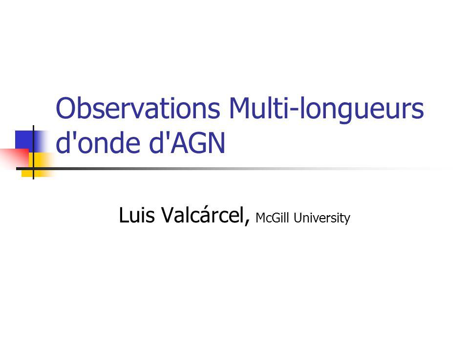 Observations Multi-longueurs d onde d AGN Luis Valcárcel, McGill University