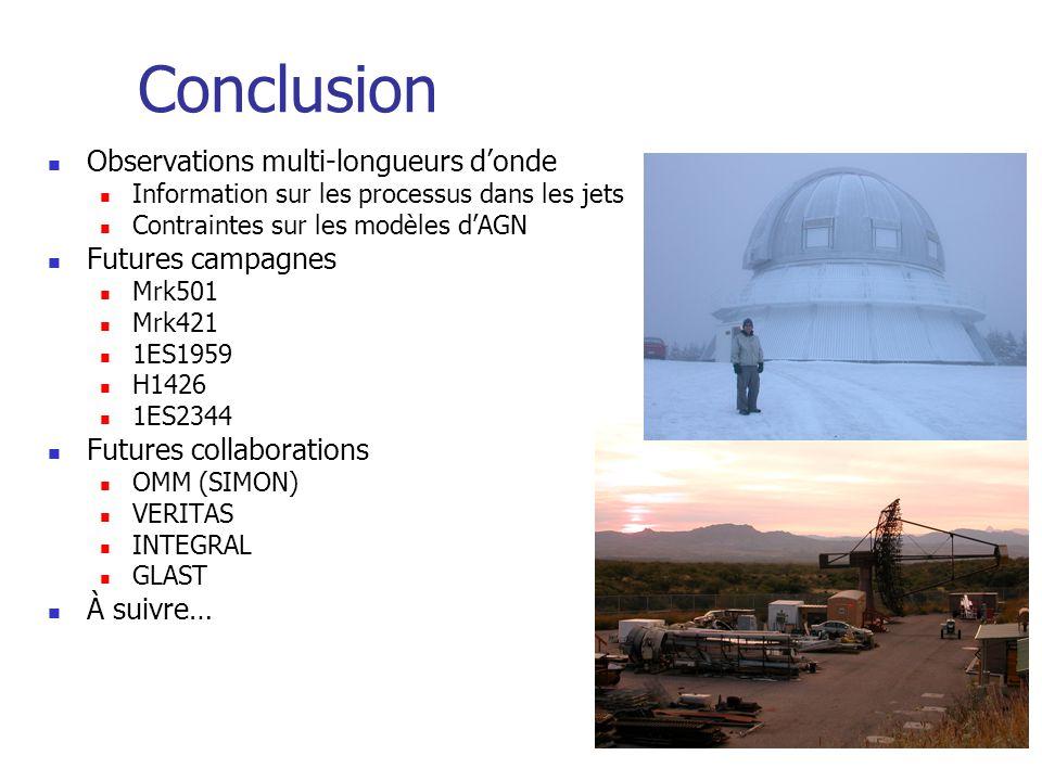 Conclusion Observations multi-longueurs donde Information sur les processus dans les jets Contraintes sur les modèles dAGN Futures campagnes Mrk501 Mrk421 1ES1959 H1426 1ES2344 Futures collaborations OMM (SIMON) VERITAS INTEGRAL GLAST À suivre…