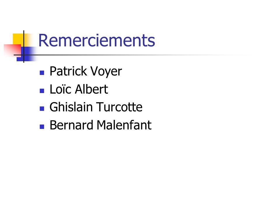 Remerciements Patrick Voyer Loïc Albert Ghislain Turcotte Bernard Malenfant