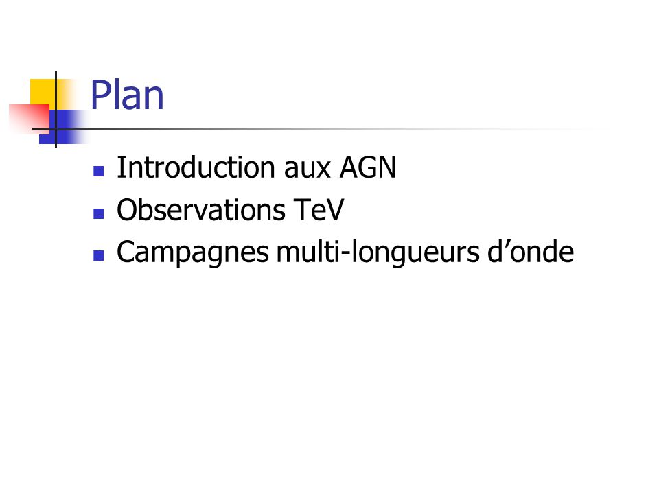 Plan Introduction aux AGN Observations TeV Campagnes multi-longueurs donde