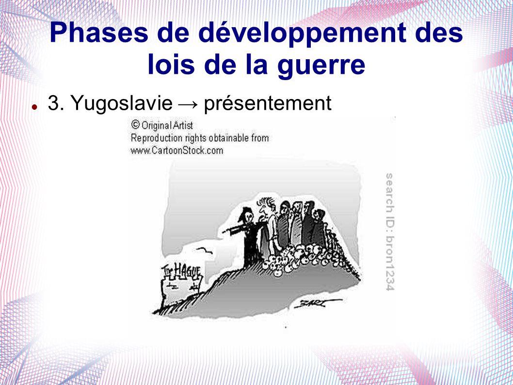 Phases de développement des lois de la guerre 3. Yugoslavie présentement