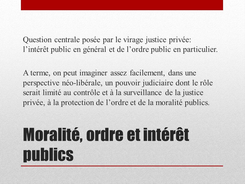 Moralité, ordre et intérêt publics Question centrale posée par le virage justice privée: lintérêt public en général et de lordre public en particulier.