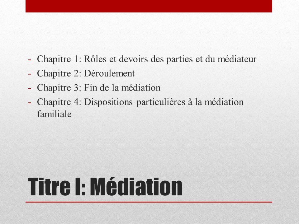 Titre I: Médiation -Chapitre 1: Rôles et devoirs des parties et du médiateur -Chapitre 2: Déroulement -Chapitre 3: Fin de la médiation -Chapitre 4: Dispositions particulières à la médiation familiale