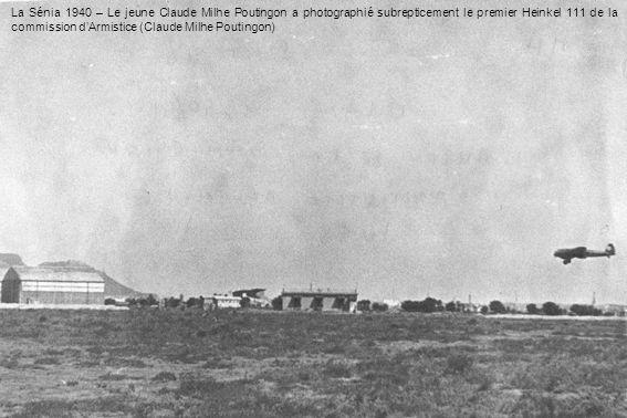 La Sénia 1940 – Le jeune Claude Milhe Poutingon a photographié subrepticement le premier Heinkel 111 de la commission dArmistice (Claude Milhe Pouting