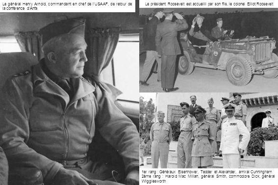Le général Tedder, commandant le Mediterranean Air Command (IWM) Dessus : Le général Bowhill, commandant le Transport Command de la RAF, arrive à Maison-Blanche (IWM) Dessous : A Aïn-Beïda, au QG de la North Africa Tactical Air Force, les généraux Coningham, commandant le NATAF, Spaatz, Tedder et Kuter