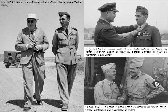 Eddie Rickenbaker, premier as américain de la Première Guerre Mondiale avec 26 victoires aériennes, effectue une tournée en Afrique du Nord.