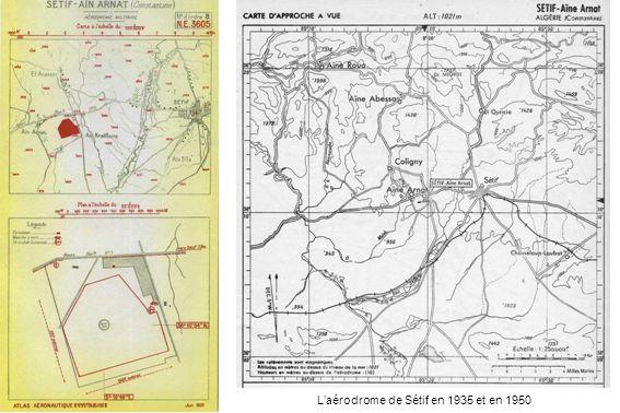Laérodrome de Sétif en 1935 et en 1950