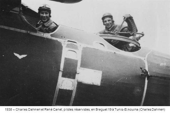 1938 – Charles Dahmen et René Canet, pilotes réservistes, en Breguet 19 à Tunis-El Aouina (Charles Dahmen)
