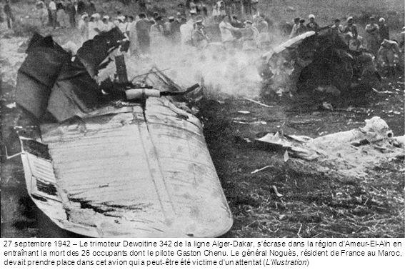 Le trimoteur dewoitine 342 de la ligne alger-dakar, s'écrase dans la