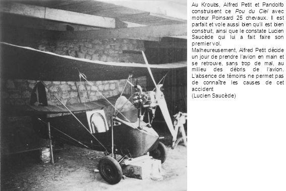 Au Kroubs, Alfred Petit et Pandolfo construisent ce Pou du Ciel avec moteur Poinsard 25 chevaux. Il est parfait et vole aussi bien quil est bien const