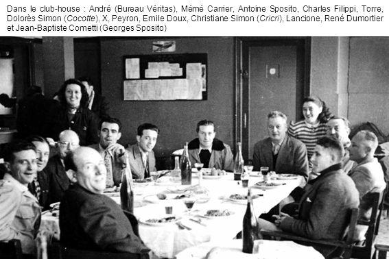 Dans le club-house : André (Bureau Véritas), Mémé Carrier, Antoine Sposito, Charles Filippi, Torre, Dolorès Simon (Cocotte), X, Peyron, Emile Doux, Ch