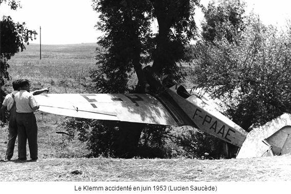 Le Klemm accidenté en juin 1953 (Lucien Saucède)