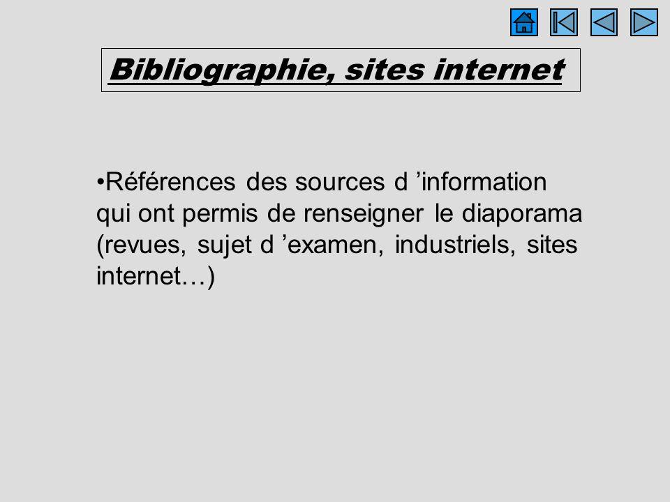 Bibliographie, sites internet Références des sources d information qui ont permis de renseigner le diaporama (revues, sujet d examen, industriels, sit