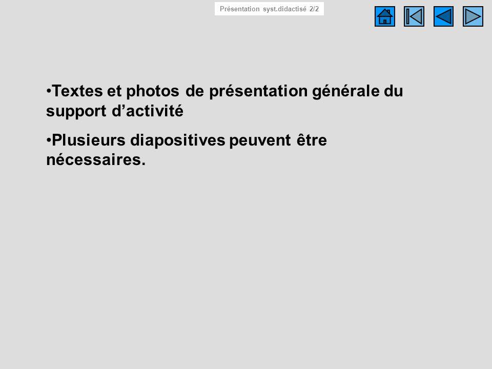 Textes et photos de présentation générale du support dactivité Plusieurs diapositives peuvent être nécessaires. Système didactisé 2/2 Présentation sys