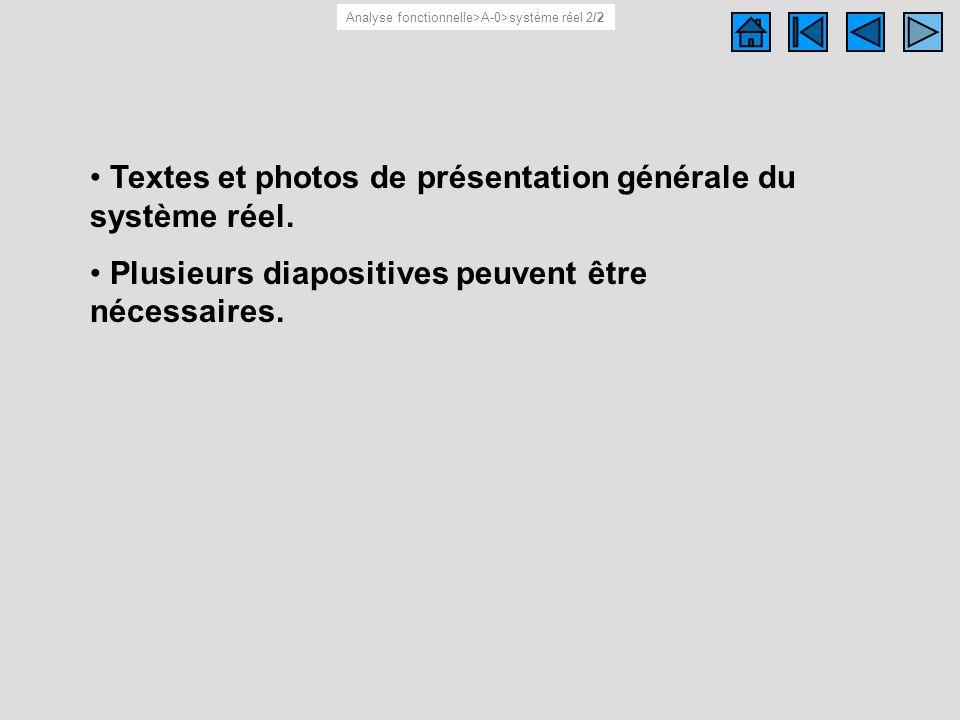 Textes et photos de présentation générale du système réel. Plusieurs diapositives peuvent être nécessaires. Système réel 2/2 Analyse fonctionnelle>A-0