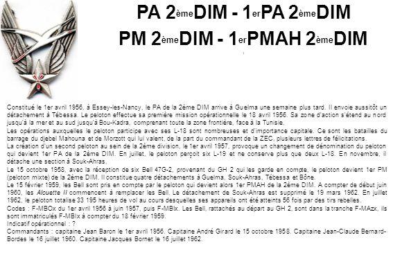Constitué le 1er avril 1956, à Essey-les-Nancy, le PA de la 2ème DIM arrive à Guelma une semaine plus tard.