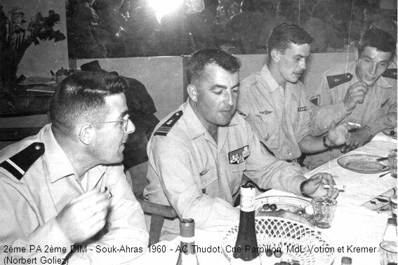 2ème PA 2ème DIM - Souk-Ahras 1960 - AC Thudot, Cne Parpillon, MdL Votion et Kremer (Norbert Goliez)