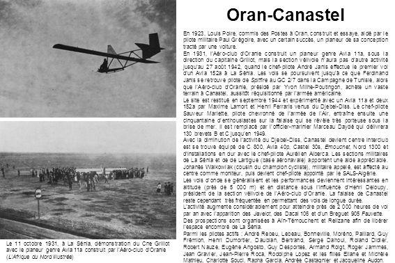 Oran-Canastel En 1923, Louis Poire, commis des Postes à Oran, construit et essaye, aidé par le pilote militaire Paul Grégoire, avec un certain succès,