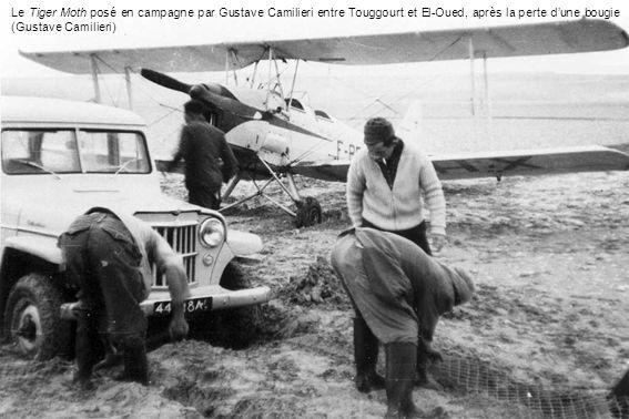 Le Tiger Moth posé en campagne par Gustave Camilieri entre Touggourt et El-Oued, après la perte dune bougie (Gustave Camilieri)