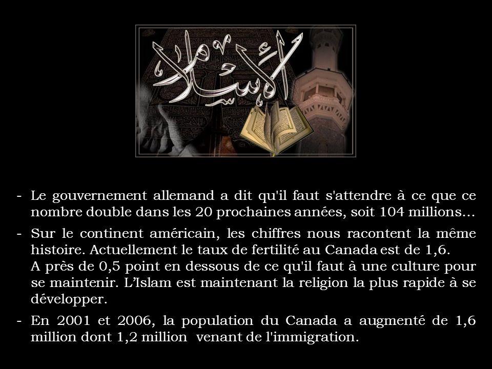 -Kadhafi, le leader libyen a dit : « Il y a des signes qu'Allah va accorder une immense victoire à l'Islam en Europe, sans épées, sans fusils, sans co