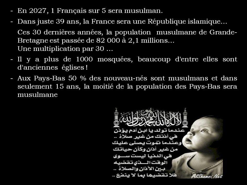 -Parmi toutes les augmentations de population en Europe depuis 1990, 90 % l'ont été du fait d'une immigration musulmane. En France, Français d'origine