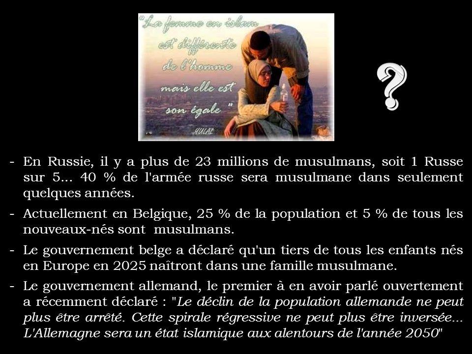 -En 2027, 1 Français sur 5 sera musulman. -Dans juste 39 ans, la France sera une République islamique... -Ces 30 dernières années, la population musul