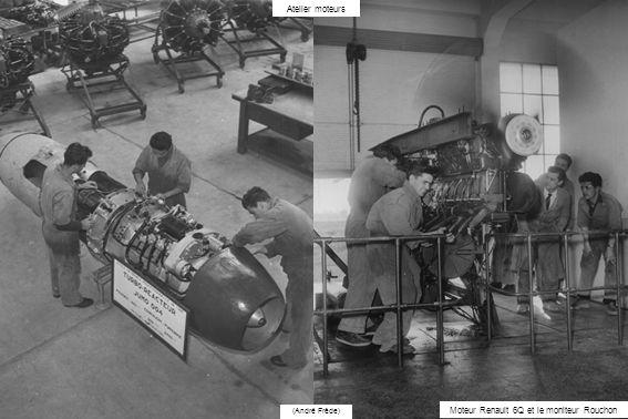 (André Frède) Atelier moteurs Moteur Renault 6Q et le moniteur Rouchon