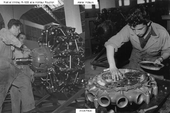 (André Frède) Atelier moteursPratt et Whitney R-1535 et le moniteur Rouchon