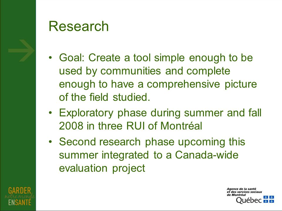 Research Goal: Create a tool simple enough to be used by communities and complete enough to have a comprehensive picture of the field studied. Explora