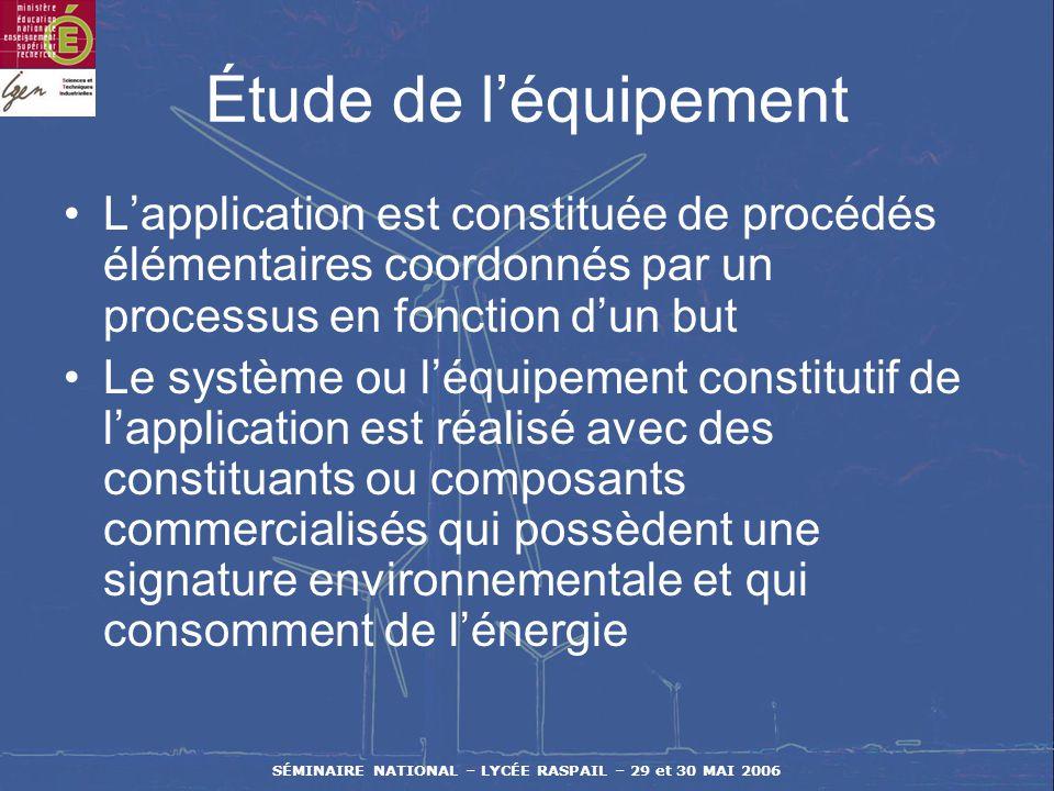 SÉMINAIRE NATIONAL – LYCÉE RASPAIL – 29 et 30 MAI 2006 Étude du contexte applicatif