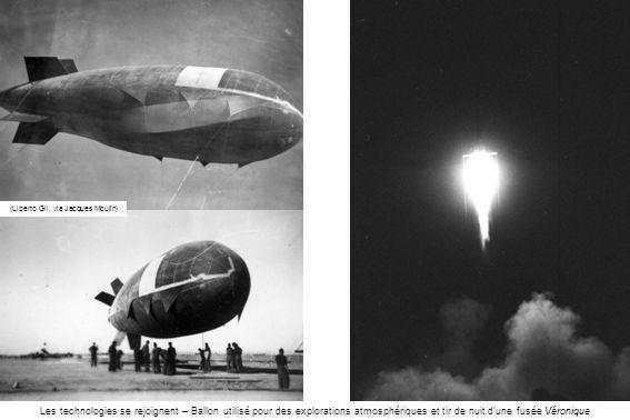 (Liberto Gil, via Jacques Moulin) Les technologies se rejoignent – Ballon utilisé pour des explorations atmosphériques et tir de nuit dune fusée Véron