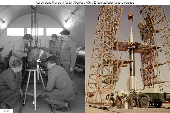 (SHD) Le portique est dégagé de la fusée Véronique AGI V23 avant son lancement qui sera un échec le 23 février 1960