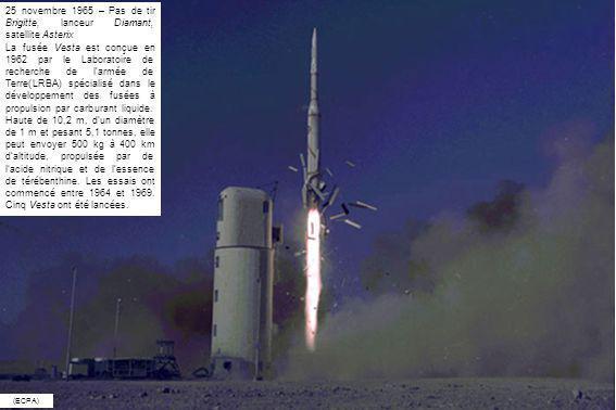 (ECPA) 25 novembre 1965 – Pas de tir Brigitte, lanceur Diamant, satellite Asterix La fusée Vesta est conçue en 1962 par le Laboratoire de recherche de