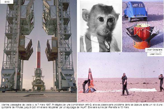(SHD) (Alain Delepierre) Martine, passagère de Vesta 4, le 7 mars 1967. Protégée par une combinaison anti-G, elle se posera sans problème dans sa caps