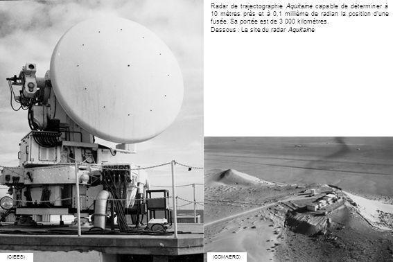 Radar de trajectographie Aquitaine capable de déterminer à 10 mètres près et à 0,1 millième de radian la position dune fusée. Sa portée est de 3 000 k
